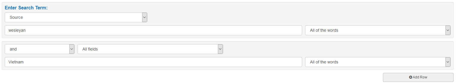 Use the 'Add Row' button below the 'Enter Search Term' field to input more search terms.