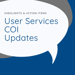 User Services COI Updates