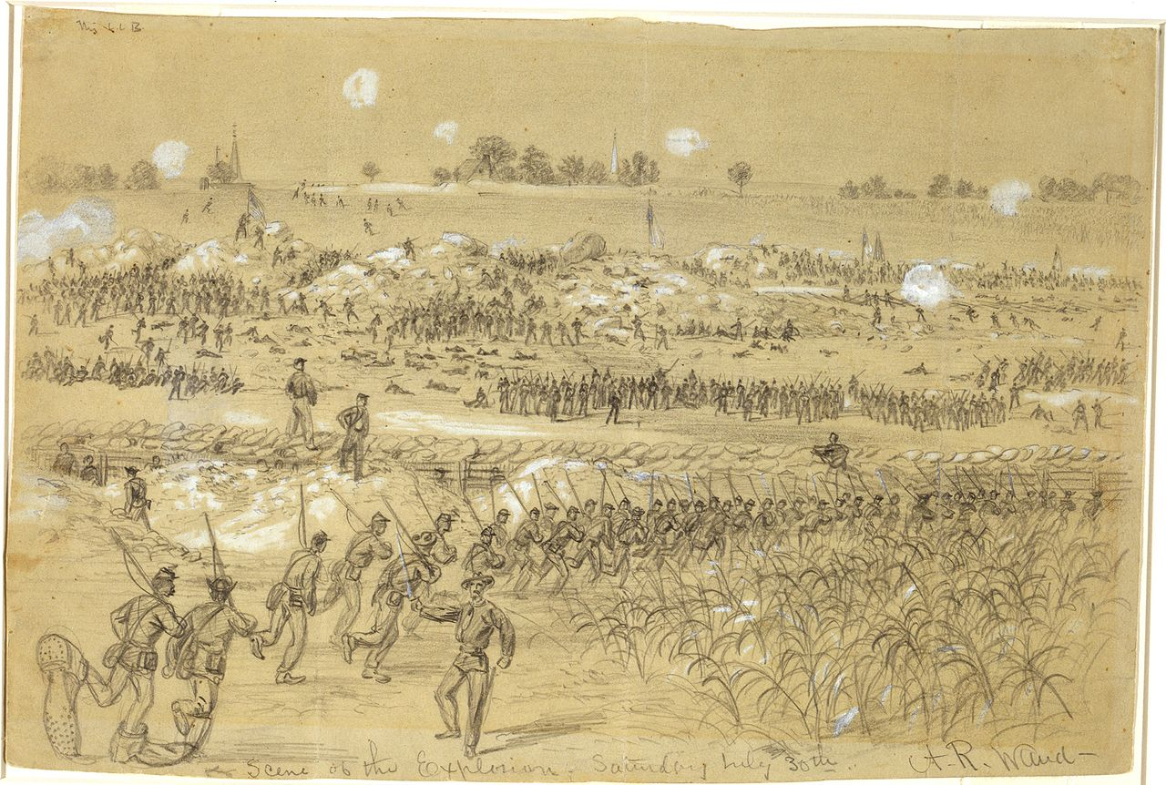 Battle of the Crater explosion artistic rendering