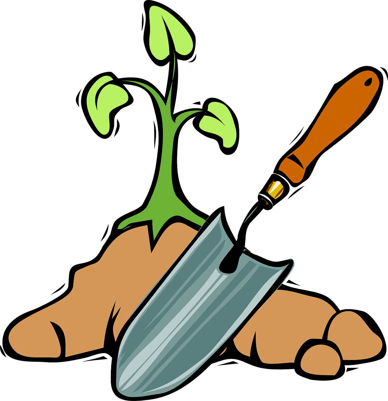 spade and plant