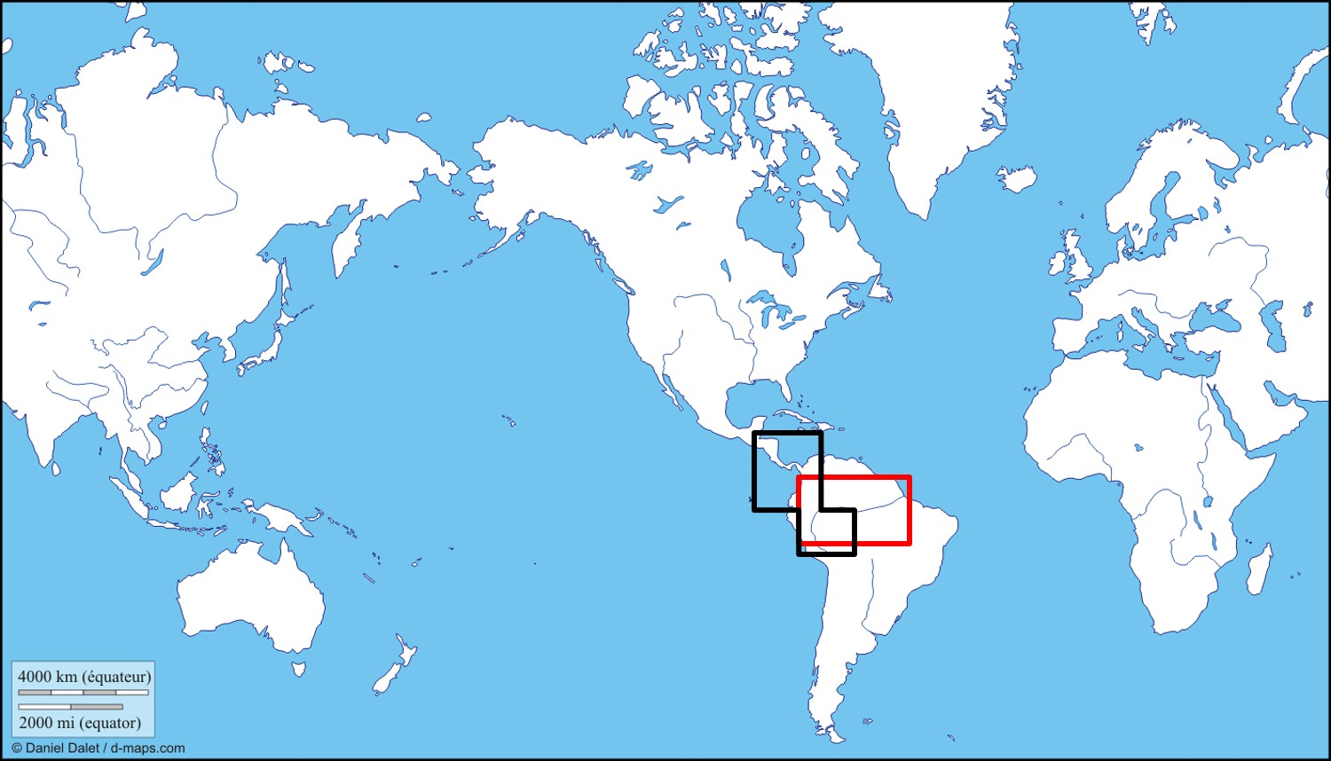 Distribution of two species of two-toed sloths