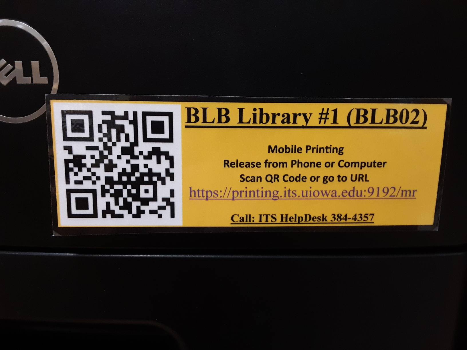 Image on Law Library Printer with QR Code