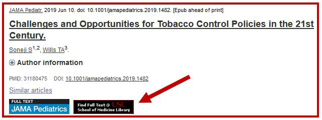 Screenshot of Find Full Text button in PubMed