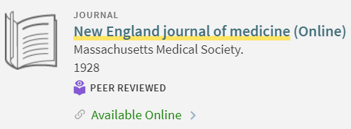 New England Journal of Medicine record
