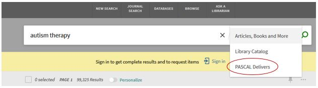 Drop-down menu showing PASCAL Delivers option in Find It @ UofSC Libraries