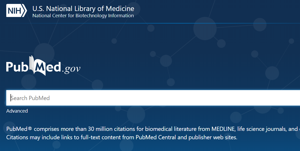 PubMed screen capture