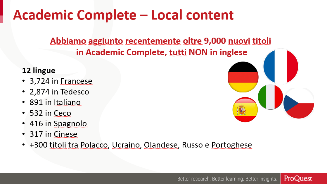 slide showing numbers of titles in local languages recently added