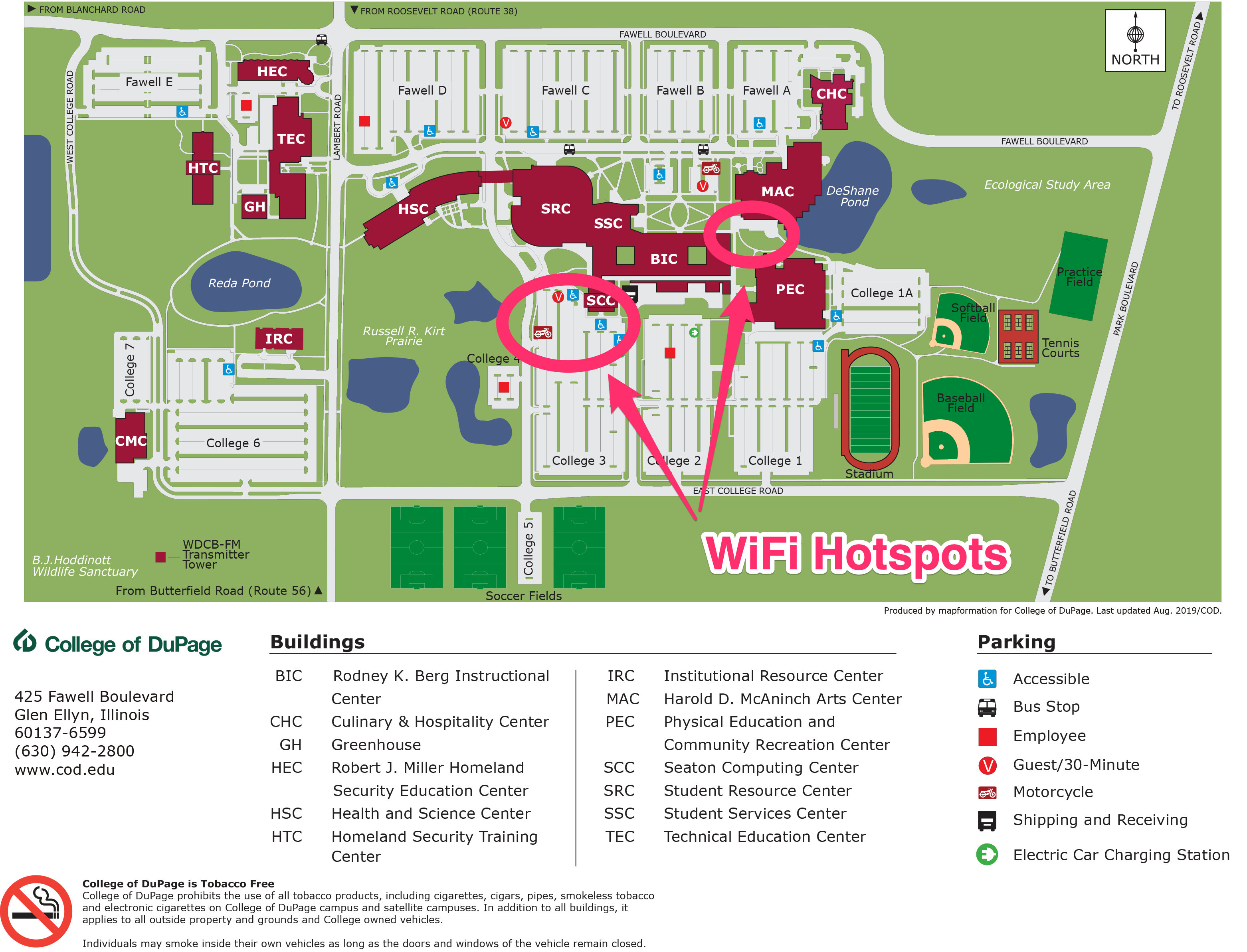 Campus maps showing outdoor public WiFi hotspots south of the SRC and MAC buildings.