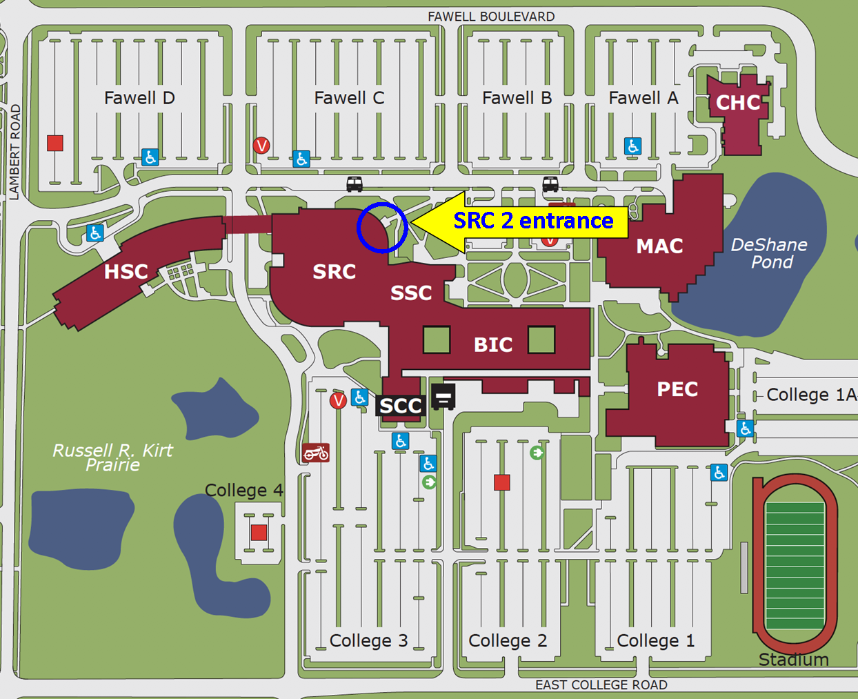 Map showing the north SRC entrance