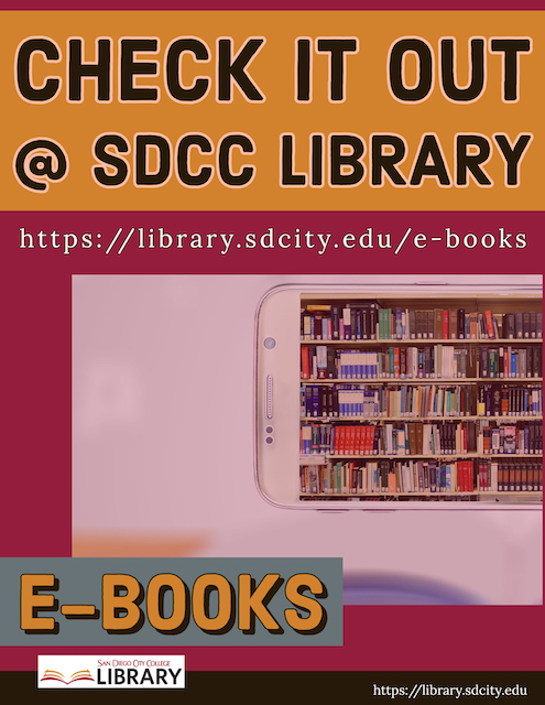 Poster promotion for e-books link to SDCCD Books+
