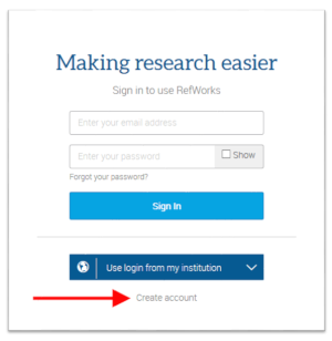 "RefWorks sign in screenshot highlighting ""create account"" link"