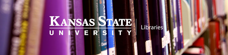 Kansas State University Libraries banner with image of books on bookshelf