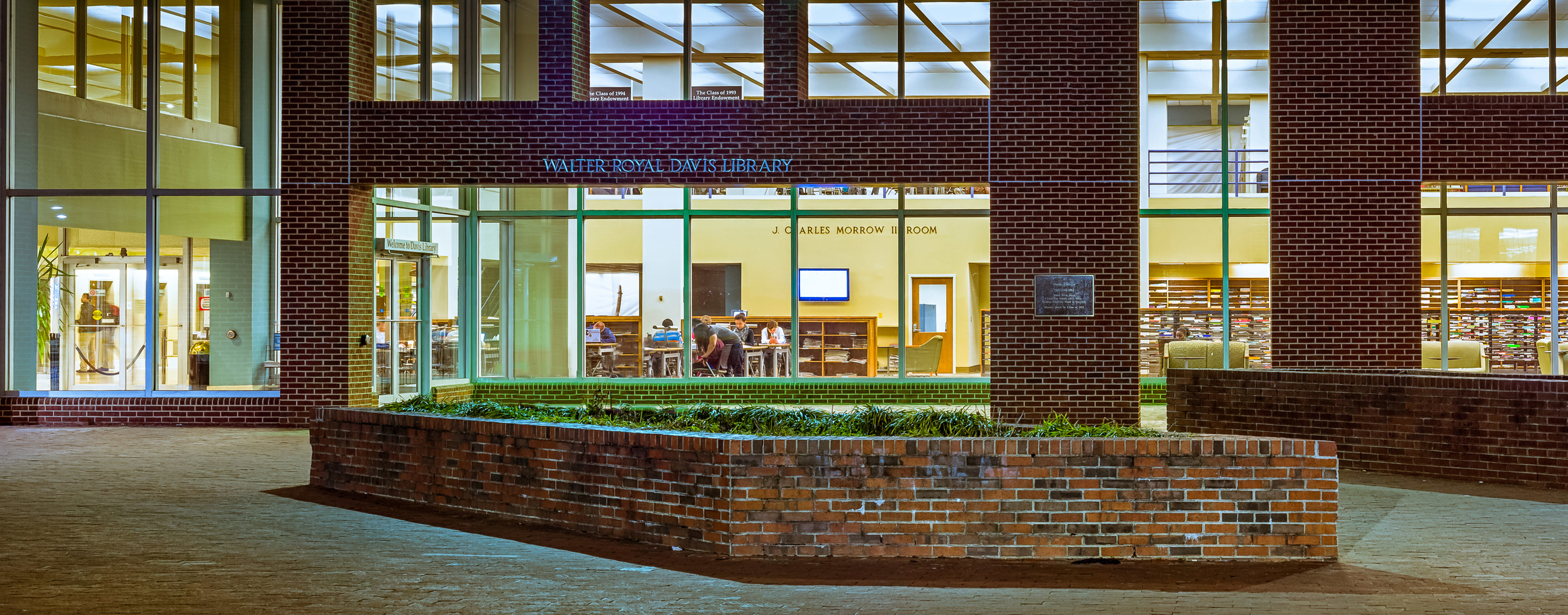 Davis Library at night