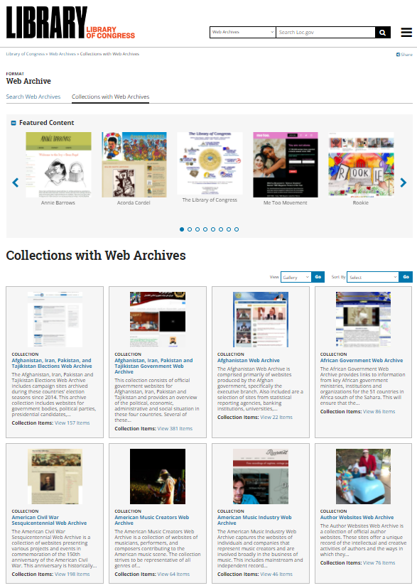 Web Archives collection screen shot