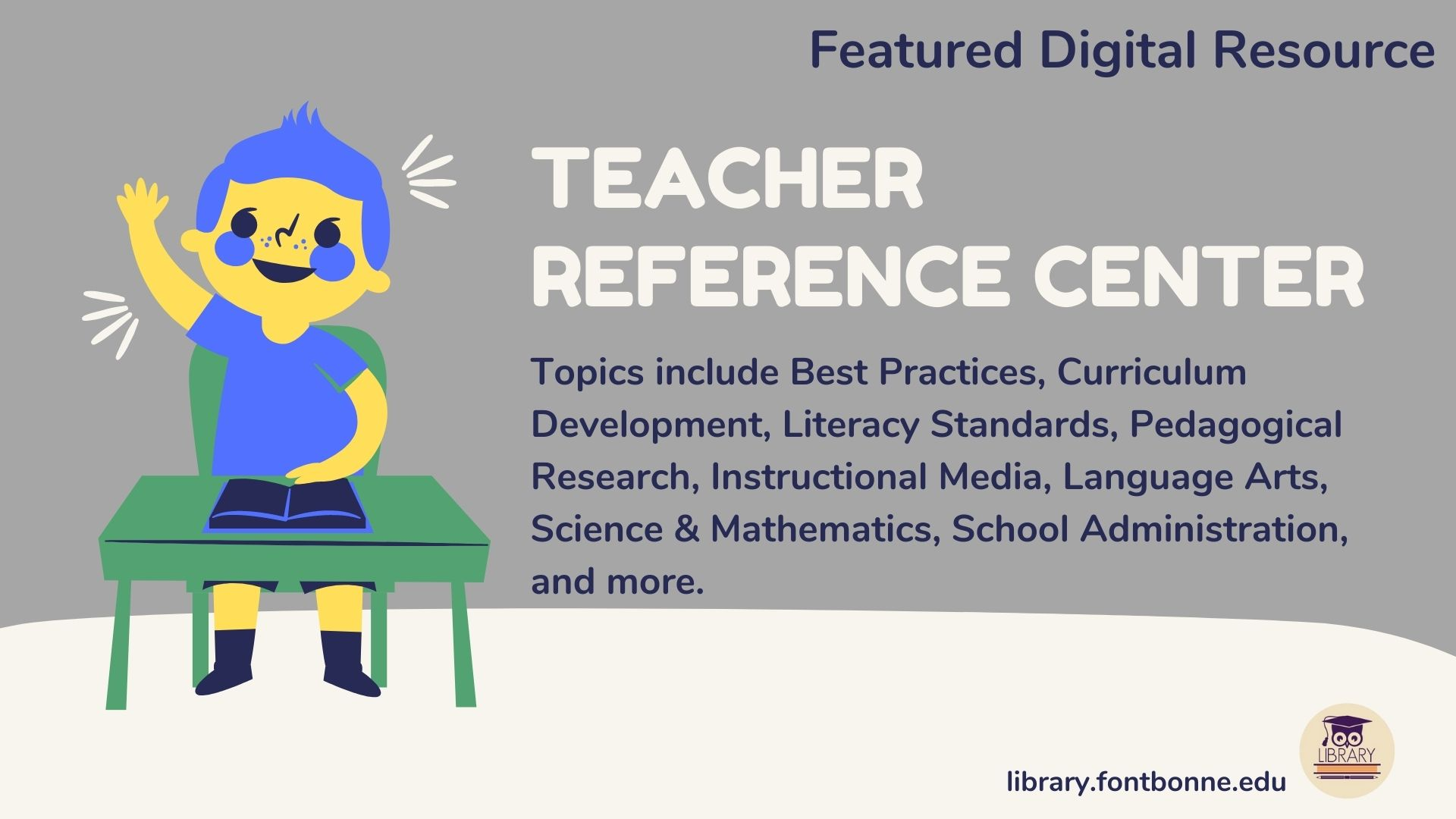 An image of a student raising a hand to advertise the Teacher Reference Student database