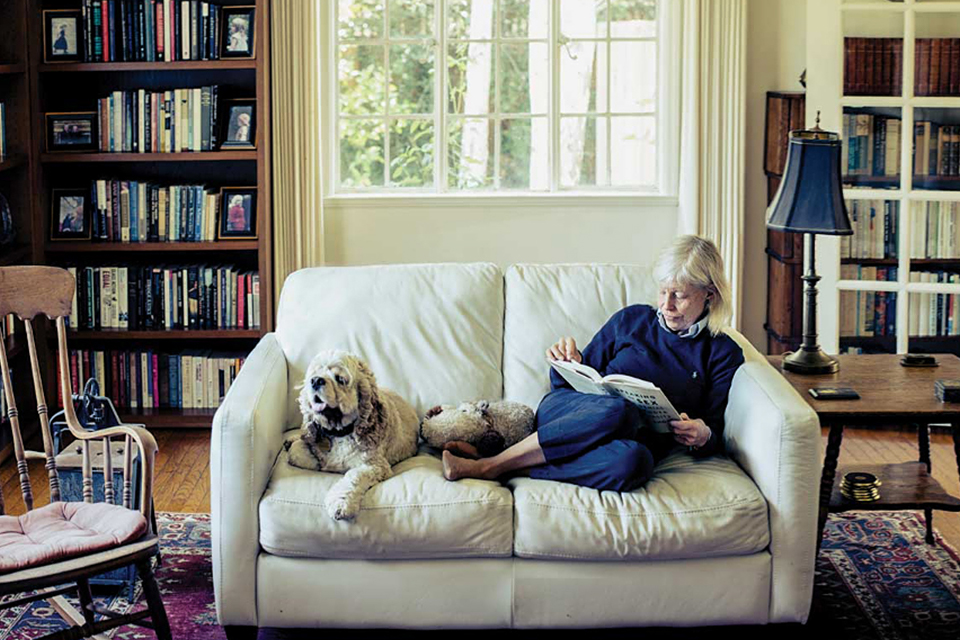 Photo of Prof. Rhode and her dog Stanton. Photo credit: Timothy Archibald/Stanford Magazine