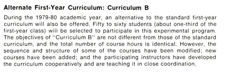Alternative First-Year Curriculum: Curriculum B