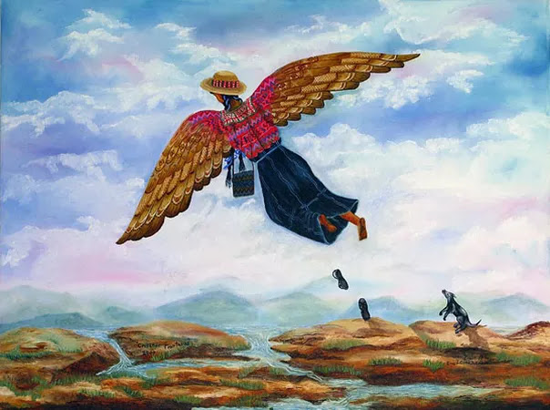 Painting of a person with wings flying