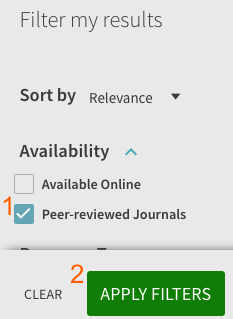 """Filter my results"" section with ""Peer-reviewed Journals"" checked"