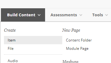 Screenshot of Blackboard Build Content menu. Item option is highlighted.