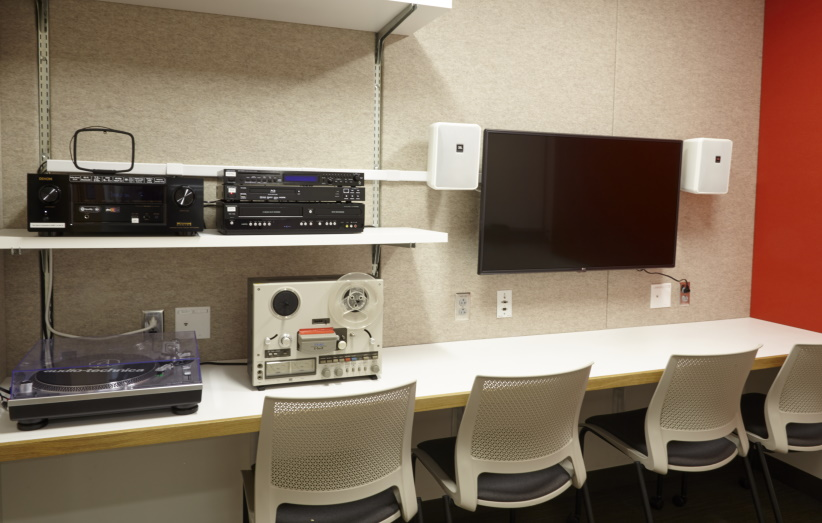 listening/viewing room with audio/visual equipment