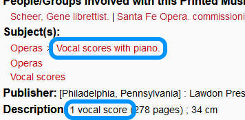 catalog record showing 'vocal scores with piano' under Subjects and '1 vocal score' under Description