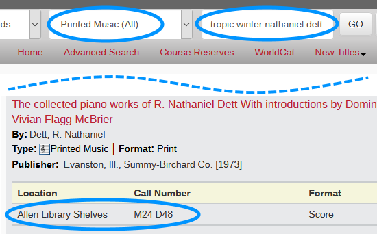 sample catalog search for 'tropic winter nathaniel dett' limited to Printed Music (All); results show catalog record with library location and call number