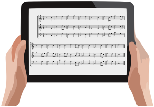 tablet with music score