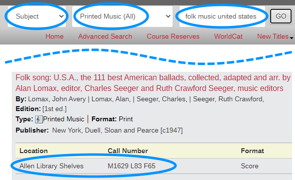 catalog search for 'folk music united states' with keyword changed to subject and format set to Printed Music (All), result showing location and call number