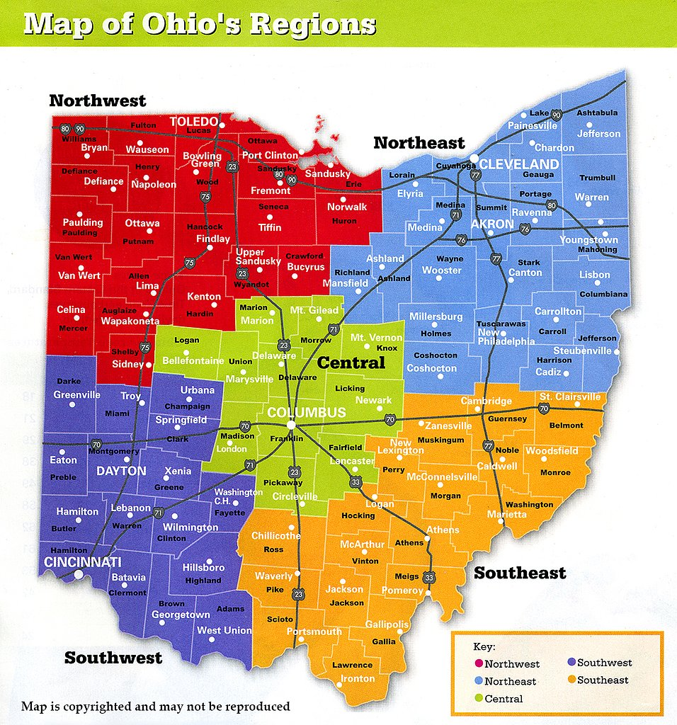 Map of Ohio's Regions