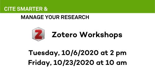 Upcoming Zotero Workshops