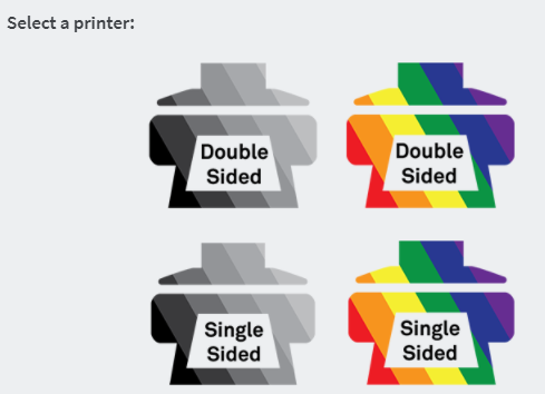 select a printer menu for double sided, single sided, black & white, and color