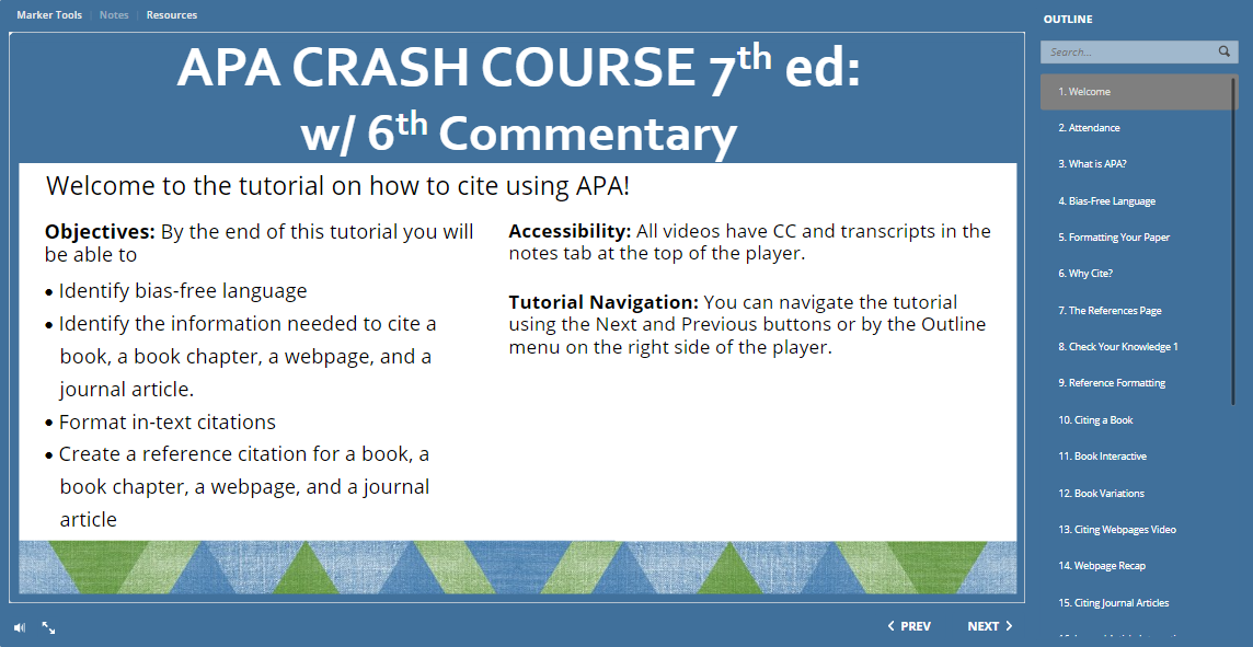 Linked thumbnail for the APA Crash Course interactive tutorial