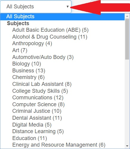 Image of the Subject drop down menu in the A-Z Database List.