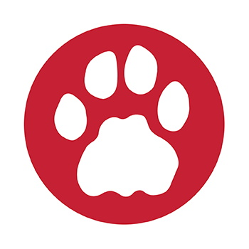 Red circle with a white cougar paw print in the center.