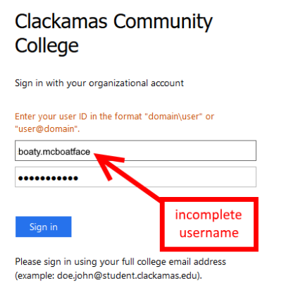 incomplete username on login screen