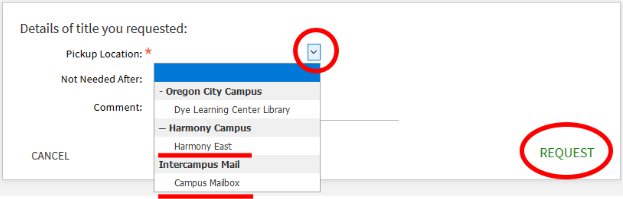 Screenshot of CCC Library catalog delivery options