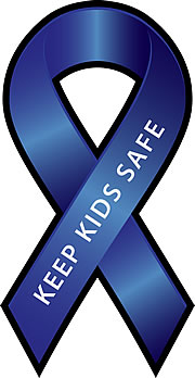 Keep children safe blue awareness ribbon.