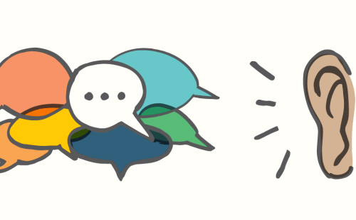 Cartoon image of colorful speech bubbles and an ear listening to them.