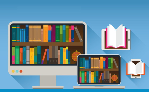 Colorful cartoon graphic of a desktop computer, laptop, cell phone, and eReader displaying open books and bookshelves