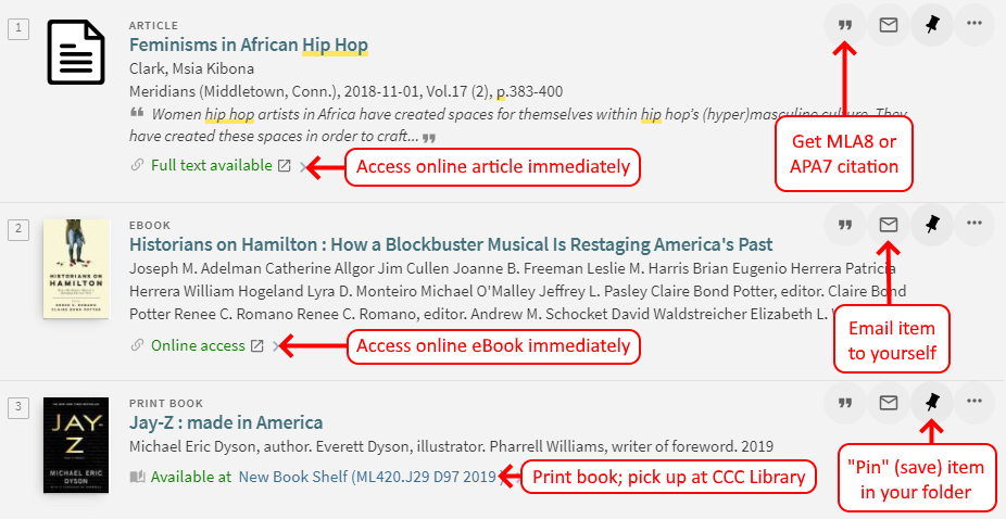 Primo search results showing online article, eBook, and print book results with full-text access options and citation, email, and folder options