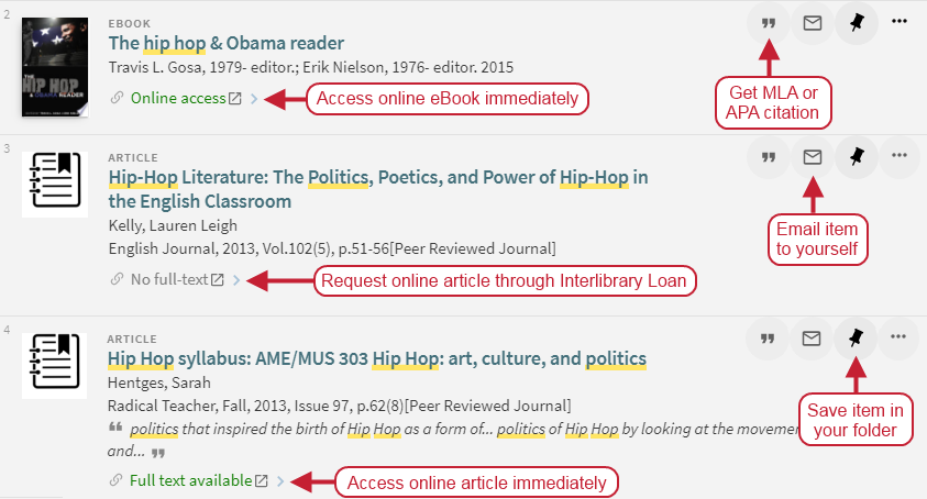 Search results with full-text access options and citation, email, and folder options