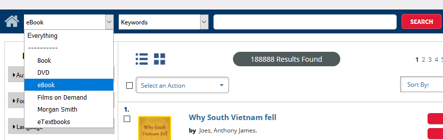Screenshot of drop-down menu and search bar in catalog.