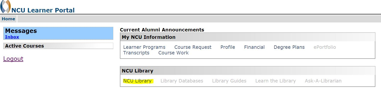 My.NCU.edu homepage with the NCU Library link highlighted.