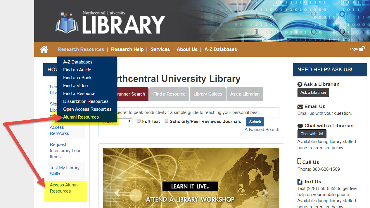 Library homepage with the Alumni Resources link highlighted under the Research Resources menu.