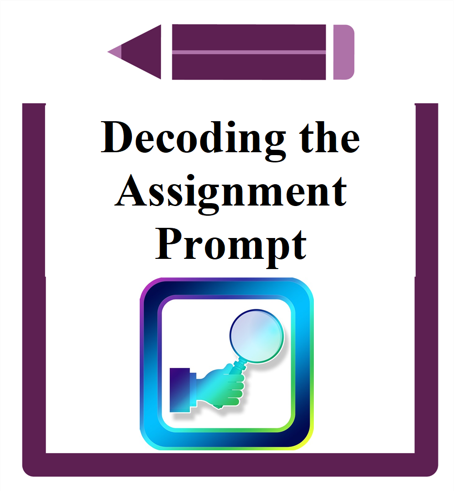 Decoding the Assignment Prompt icon hand holding magnifying glass