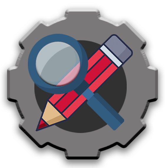 Gear with red pen and magnifying glass