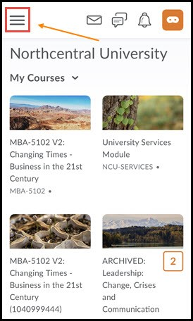 Homepage with course menu highlighted