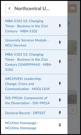 List of courses in course menu