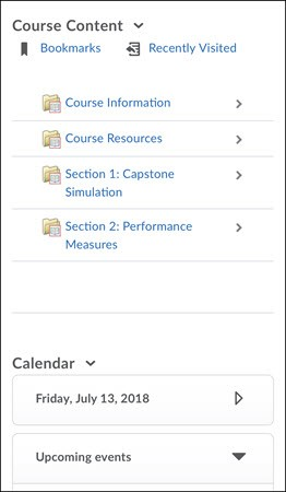 List of weekly course content